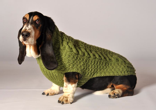 SWEATERS CLEARANCE - DOG SWEATER: GREEN CABLE KNIT - FINAL SALE