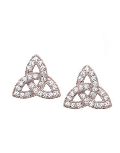 EARRINGS FADO STERLING PAVE SET TRINITY EARRINGS with ROSE GOLD PLATE