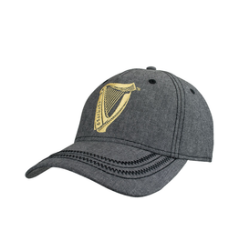 CAPS & HATS GUINNESS GREY HARP LOGO BASEBALL CAP