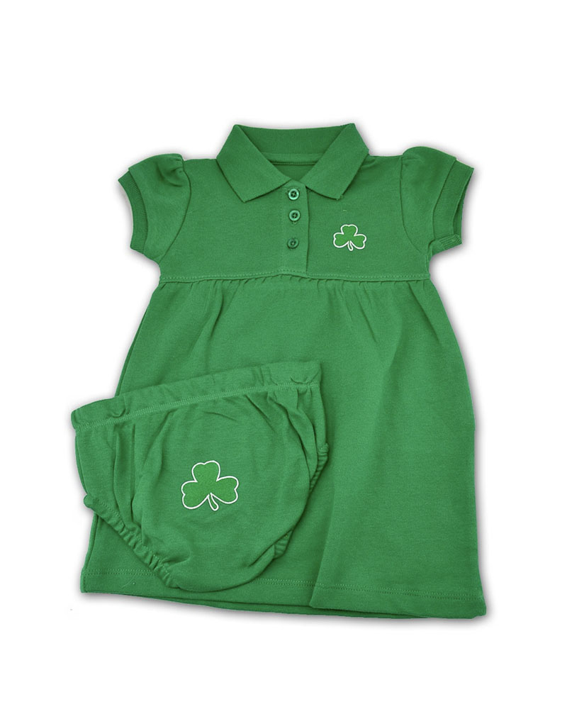 BABY CLOTHES POLO DRESS & BLOOMERS with SHAMROCK