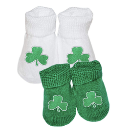 BABY ACCESSORIES NEWBORN BOOTIES with SHAMROCK