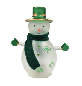 HOLIDAY DECOR IRISH LED SNOWMAN with SHAMROCKS