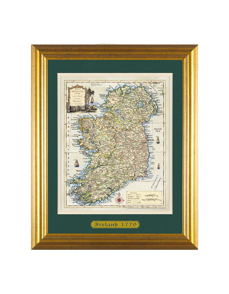 PLAQUES & GIFTS ANCIENT IRELAND MAP - 16x20 Framed & Matted