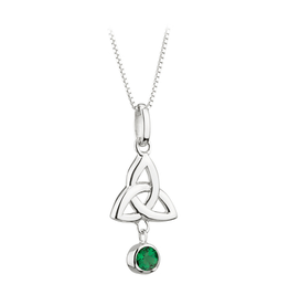 PENDANTS & NECKLACES ACARA SILVER TRINITY PENDANT with DANGLE STONE