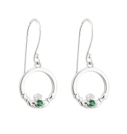 EARRINGS ACARA SILVER CLADDAGH DROP EARRINGS with STONES