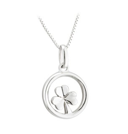 PENDANTS & NECKLACES ACARA SILVER CIRCLE SHAMROCK PENDANT