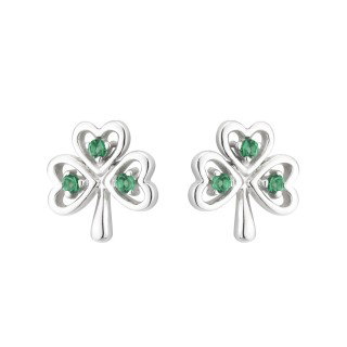 EARRINGS ACARA SILVER SHAMROCK STUD EARRINGS with STONES