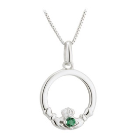 PENDANTS & NECKLACES ACARA SILVER CLADDAGH PENDANT with STONE