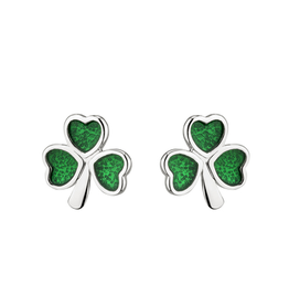EARRINGS ACARA SILVER & GREEN ENAMEL SHAMROCK STUD EARRINGS