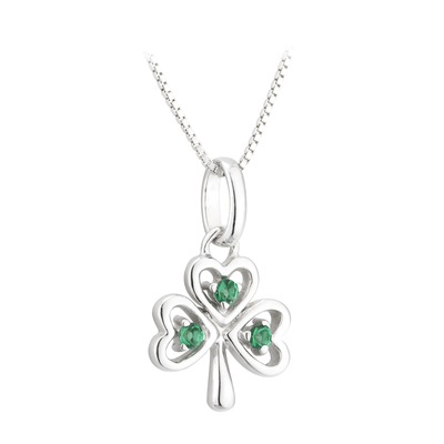 PENDANTS & NECKLACES ACARA SILVER SHAMROCK PENDANT with STONES