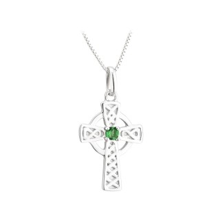 PENDANTS & NECKLACES ACARA SILVER SML CROSS PENDANT with STONE