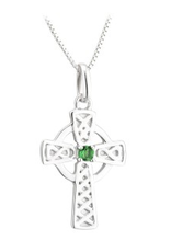 PENDANTS & NECKLACES ACARA SILVER LRG CROSS PENDANT with STONE