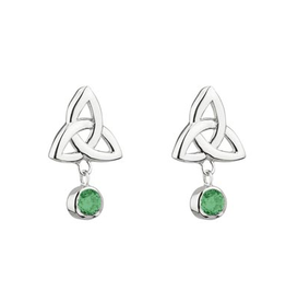 EARRINGS ACARA SILVER TRINITY STUD EARRINGS with DANGLE STONES