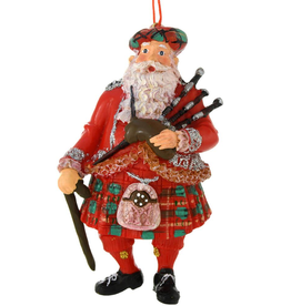 ORNAMENTS SCOTTISH RESIN SANTA ORNAMENT