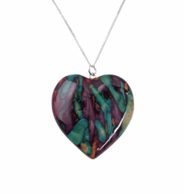 PENDANTS & NECKLACES HEATHERGEM LARGE HEART PENDANT with STERLING CHAIN