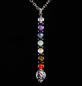 PENDANTS & NECKLACES BLACK DRAGON CELTIC CHAKRA PENDANT with GEMSTONES