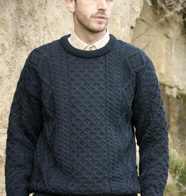 SWEATERS UNISEX IRISH ARAN CREW NECK SWEATER - Blackwatch