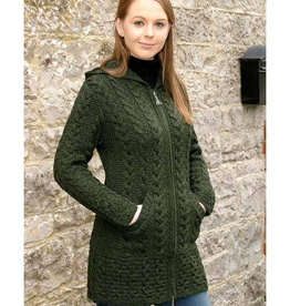 SWEATERS LADIES HOODED COAT with CELTIC KNOT ZIPPER