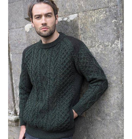 SWEATERS GENTS IRISH ARAN CREW NECK SWEATER with TWEED ACCENTS