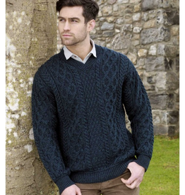 SWEATERS GENTS TRADITIONAL IRISH KNIT V NECK SWEATER - Sherwood