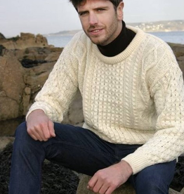 SWEATERS UNISEX IRISH ARAN CREW NECK SWEATER - Natural