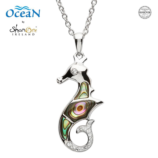 PENDANTS & NECKLACES OCEAN STERLING SEA HORSE PENDANT with ABALONE & SWAROVSKI CRYSTALS