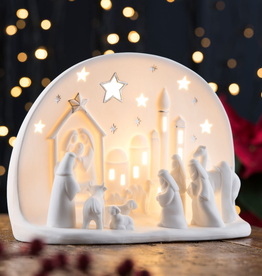 HOLIDAY BELLEEK LIVING TOWN of BETHLEHEM LUMINAIRE