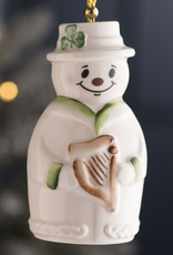 ORNAMENTS BELLEEK SNOWMAN BELL ORNAMENT with HARP