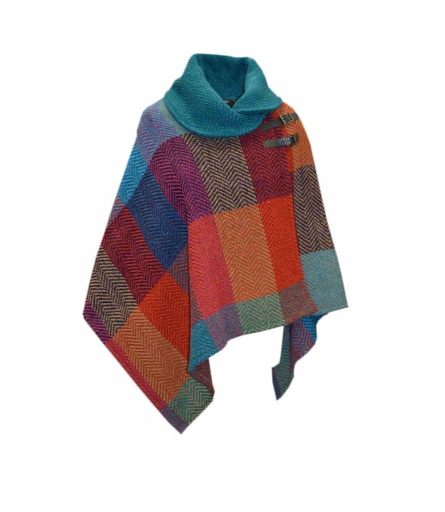 CAPES & RUANAS BRANIGAN SHAWL COLLAR PONCHO - Donegal Red