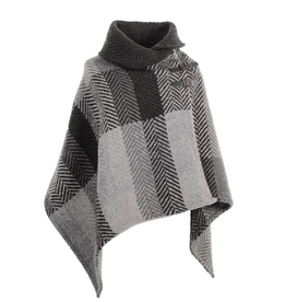 CAPES & RUANAS BRANIGAN SHAWL COLLAR PONCHO - Donegal Grey