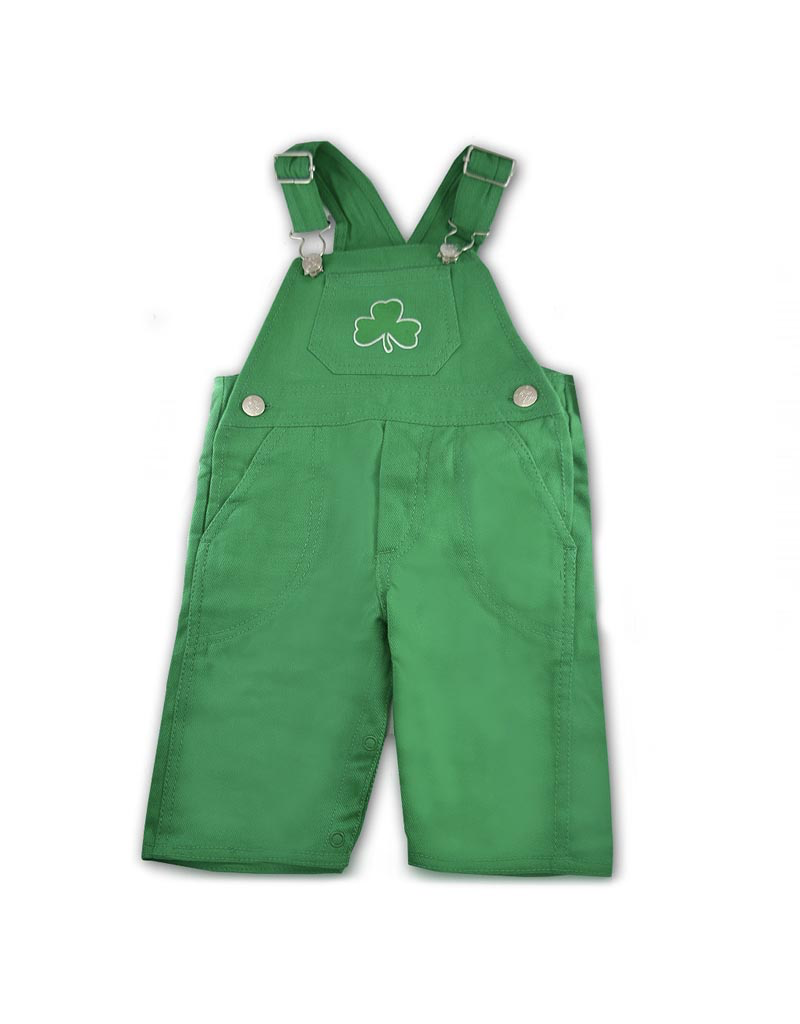 BABY CLOTHES LONG LEG OVERALLS with SHAMROCK
