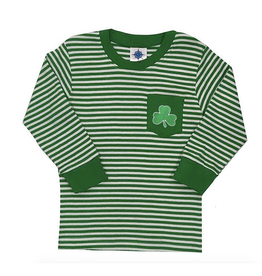BABY CLOTHES SHAMROCK STRIPE LONG SLEEVE SHIRT with POCKET