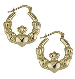 EARRINGS SOLVAR 14K CLADDAGH CREOLE HOOP EARRINGS