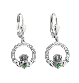 EARRINGS SOLVAR SILVER CRYSTAL ILLUSION CLADDAGH EARRINGS