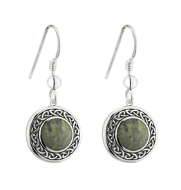 EARRINGS SOLVAR SILVER CONNEMARA MARBLE ROUND CELTIC DROP EARRINGS