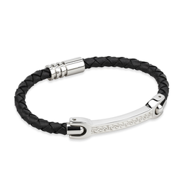 MENS JEWELRY SOLVAR CELTIC MAN STEEL & BLK LEATHER BRACELET