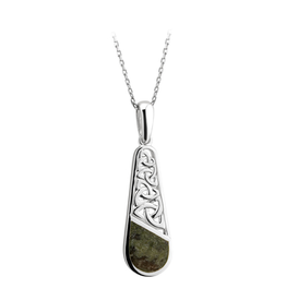 PENDANTS & NECKLACES SOLVAR STERLING TRINITY TEARDROP PENDANT with CONNEMARA