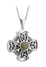CROSSES SOLVAR STERLING CONNEMARA MARBLE CROSS PENDANT