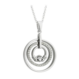 PENDANTS & NECKLACES SOLVAR STERLING SILVER CIRCLES CLADDAGH PENDANT