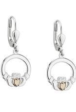 PENDANTS & NECKLACES SOLVAR STERLING & 10K CLADDAGH DROP EARRING