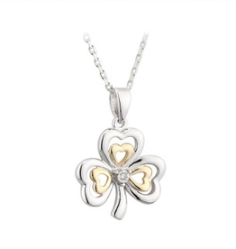 PENDANTS & NECKLACES SOLVAR STERLING & 10K SHAMROCK PENDANT with DIAMOND