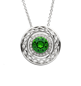 PENDANTS & NECKLACES SHANORE GREEN & WHITE CELTIC PENDANT with SWAROVSKI CRYSTALS