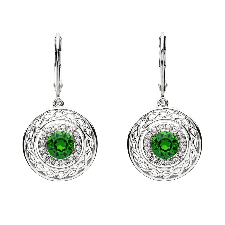 EARRINGS SHANORE GREEN & WHITE CELTIC EARRINGS with SWAROVSKI CRYSTALS