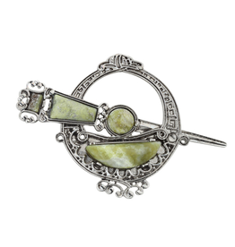 PINS & BROACHES SOLVAR RODIUM PLATE LRG TARA BROOCH with CONNEMARA MARBLE