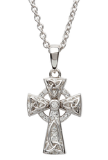 CROSSES SHANORE STERLING CELTIC CROSS PENDANT with SWAROVSKI CRYSTALS