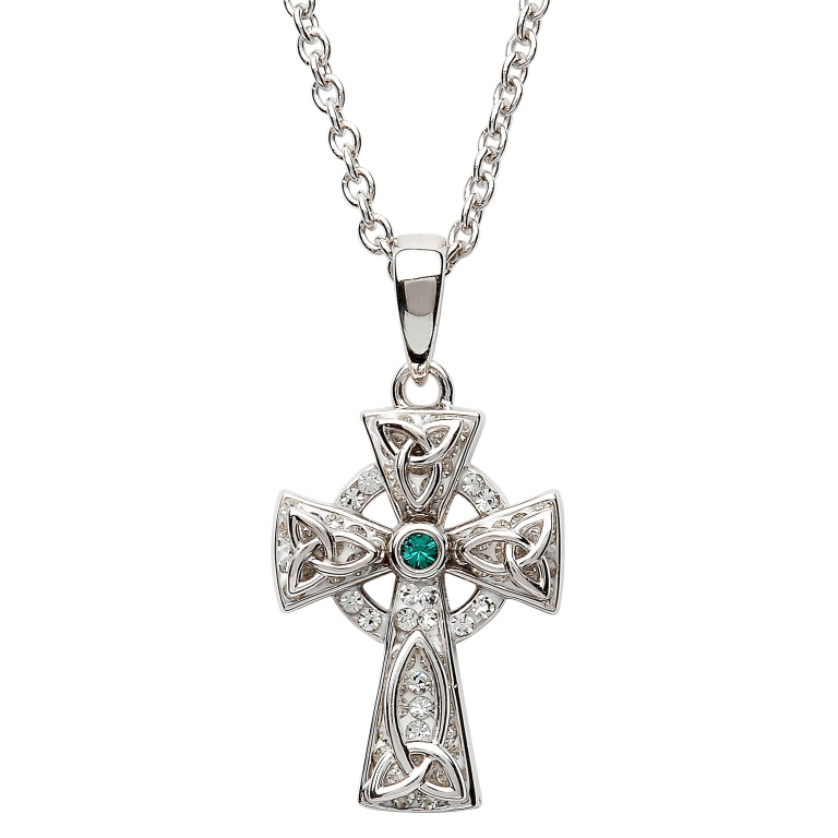 CROSSES SHANORE STERLING CELTIC CROSS PENDANT with GREEN STONE & SWAROVSKI CRYSTALS