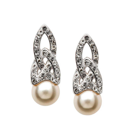 EARRINGS SHANORE STERLING TRINITY PEARL EARRINGS with SWAROVSKI CRYSTALS