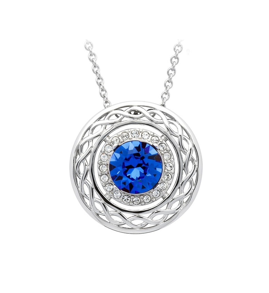PENDANTS & NECKLACES SHANORE BLUE & WHITE CELTIC PENDANT with SWAROVSKI CRYSTALS