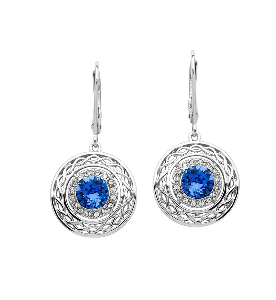 EARRINGS SHANORE BLUE & WHITE CELTIC EARRINGS with SWAROVSKI CRYSTALS