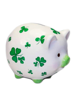 DECOR ROLLY-POLLY PIGGY BANK with SHAMROCKS